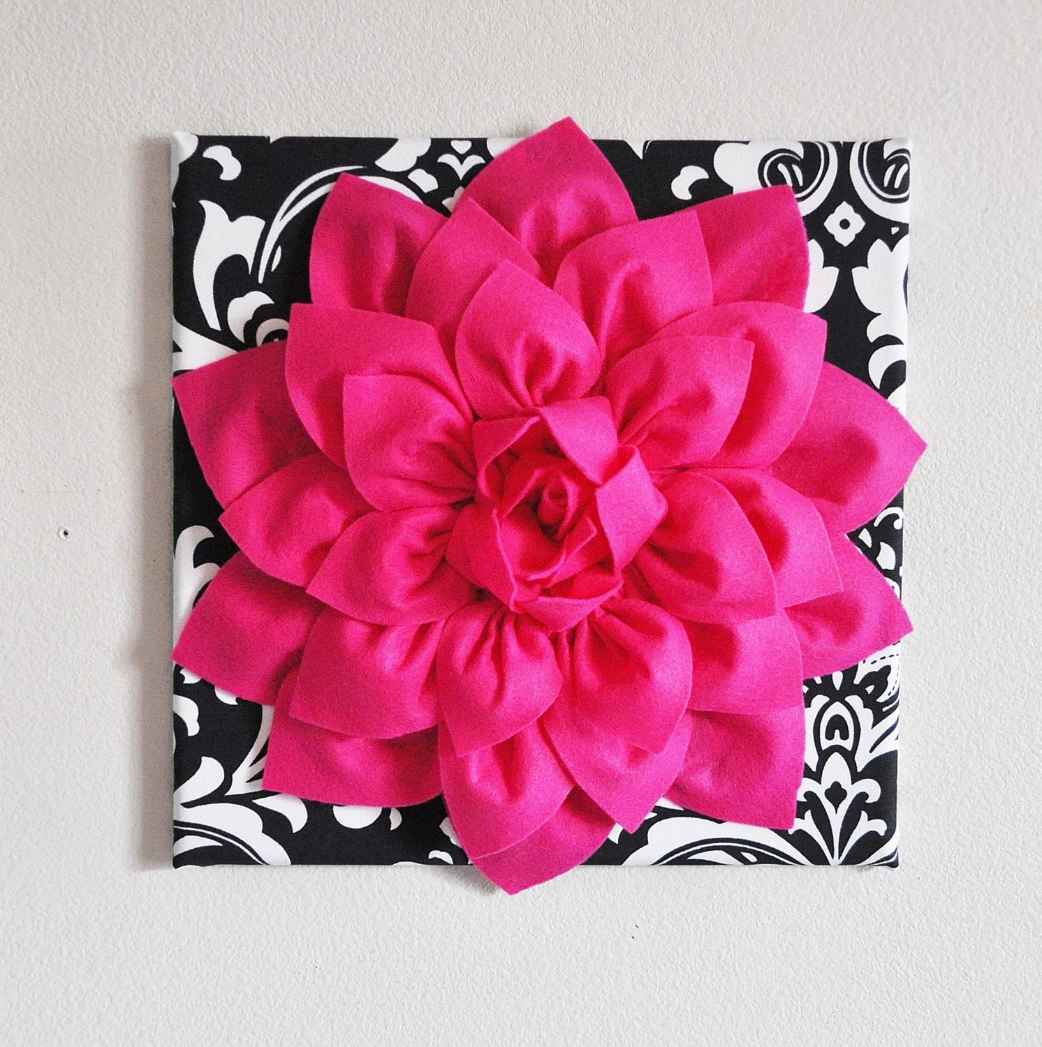 Hot Pink Wall Hanging Hot Pink Dahlia On Black And White Damask Print Daisy Manor