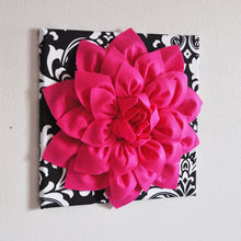 "Load image into Gallery viewer, Hot Pink Wall Hanging -Hot Pink Dahlia on Black and White Damask Print 12 x12"" Canvas Wall Art- Baby Nursery Wall Decor- - Daisy Manor"