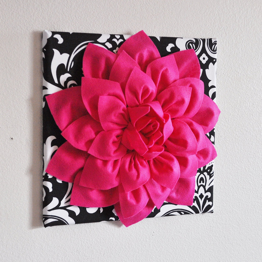 Hot Pink Wall Hanging -Hot Pink Dahlia on Black and White Damask Print 12 x12