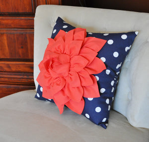 Navy Polka Dot Pillow - Daisy Manor