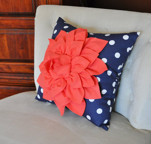 Navy Polka Dot Pillow
