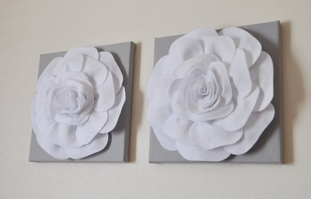 Two Rose Wall Hangings -White Rose on Solid Light Gray 12 x12