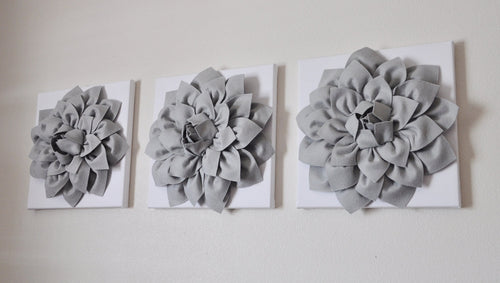 Three Gray Dahlias on White Canvases Canvases - Daisy Manor