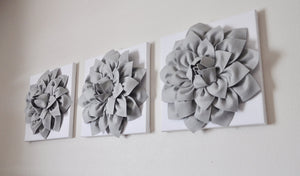 Three Gray Dahlias on Light Pink Damask Canvases - Daisy Manor