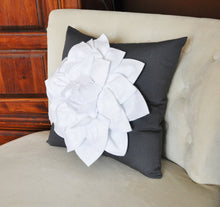 Load image into Gallery viewer, White Dahlia Flower on Charcoal Gray Pillow Accent Pillow Throw Pillow Toss Pillow - Daisy Manor