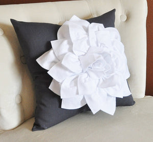 White Dahlia Flower on Charcoal Gray Pillow Accent Pillow Throw Pillow Toss Pillow - Daisy Manor