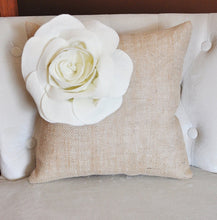 Load image into Gallery viewer, Ivory Corner Rose Flower on Burlap Pillow - Daisy Manor