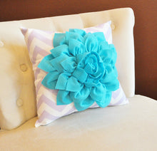 Load image into Gallery viewer, Light Turquoise Dahlia on Lilac and White Zigzag Pillow -Chevron Pillow- - Daisy Manor