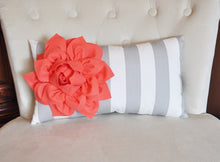 Load image into Gallery viewer, Stripe Lumbar Pillow Coral Dahlia on Gray and White Striped Lumbar Pillow 9 x 16 - Daisy Manor