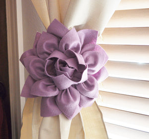Set Of Two Lavender Flower Curtain Tie Backs Curtain Tiebacks Curtain Holdback -Baby Nursery Window Treatments - Daisy Manor