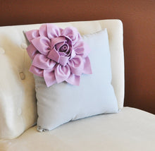 Load image into Gallery viewer, Lilac Corner Dahlia on Gray Pillow 14 X 14 -Flower Pillow- Baby Nursery Pillow - Daisy Manor