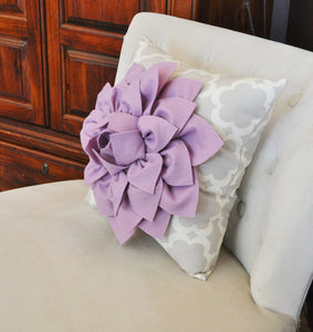 Lilac Dahlia Flower on Neutral Gray Tarika Pillow Accent Pillow Throw Pillow Toss Pillow - Daisy Manor
