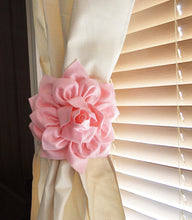 Load image into Gallery viewer, Two Dahlia Flower Curtain Tie Backs Curtain Tiebacks Curtain Holdback - Drapery Tieback - Baby Nursery Decor - Light Pink D - Daisy Manor