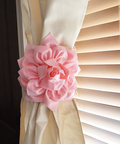 Two Dahlia Flower Curtain Tie Backs Curtain Tiebacks Curtain Holdback - Drapery Tieback - Baby Nursery Decor - Light Pink D - Daisy Manor