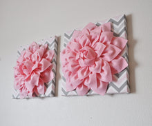"Load image into Gallery viewer, Two Wall Flower Decor -Light Pink Dahlia on Pink and Gray Chevron 12 x12"" Canvas Wall Art- Baby Nursery Wall Decor- - Daisy Manor"