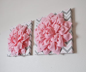 "Two Wall Flower Decor -Light Pink Dahlia on Pink and Gray Chevron 12 x12"" Canvas Wall Art- Baby Nursery Wall Decor- - Daisy Manor"