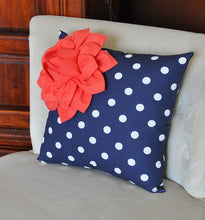Load image into Gallery viewer, Coral Flower on Navy and White Polka Dot Pillow 14 X 14 - Chevron Flower Pillow - Zig Zag Pillows -Corner Dahlia Pillow - Daisy Manor
