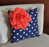 Navy Dot Corner Pillow