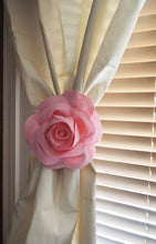 Load image into Gallery viewer, One Rose Flower Curtain Tie Backs Curtain Tiebacks Curtain Holdback -Drapery Tieback-Baby Nursery Decor-Light Pink Decor - Daisy Manor