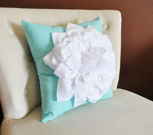 White Dahlia Flower on Bright Aqua Pillow -Decorative Aqua Blue Pillow- - Daisy Manor