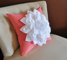 Load image into Gallery viewer, White Dahlia Flower on Coral Pink Pillow Accent Pillow Throw Pillow Toss Pillow - Daisy Manor