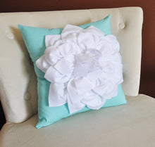 Load image into Gallery viewer, White Dahlia Flower on Bright Aqua Pillow -Decorative Aqua Blue Pillow- - Daisy Manor