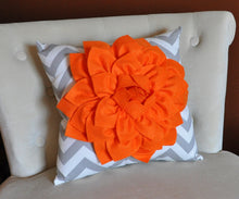 Load image into Gallery viewer, Orange Dahlia on Gray and White Zigzag Pillow -Chevron Pillow- - Daisy Manor