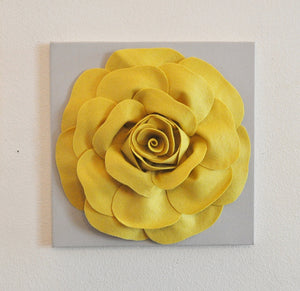 "Mellow Yellow Rose on Gray 12 x12"" Canvas - Daisy Manor"