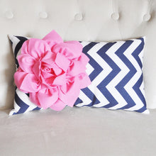 Load image into Gallery viewer, Pink Flower on Navy Chevron Lumbar Pillow - Daisy Manor