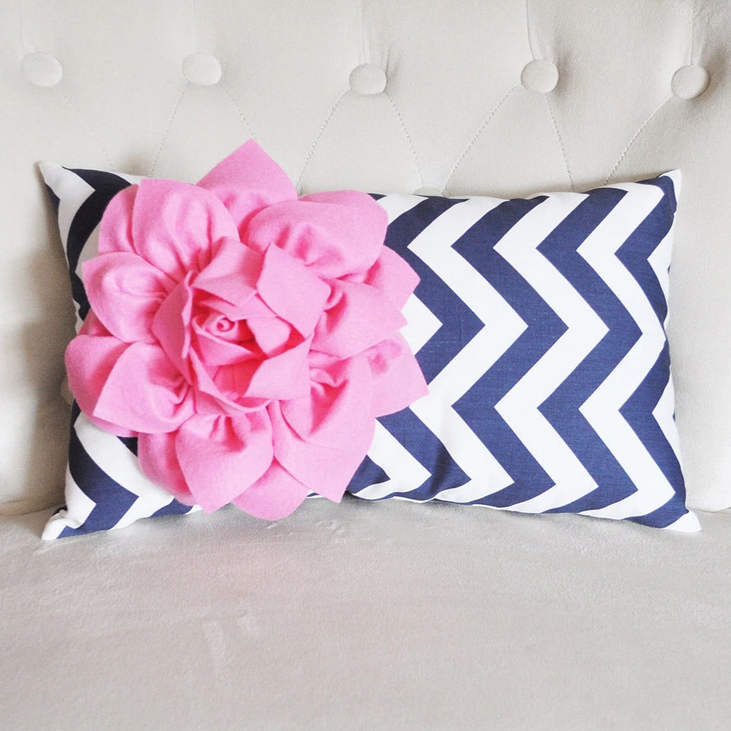 Pink Flower on Navy Chevron Lumbar Pillow - Daisy Manor