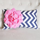 MOTHERS DAY SALE Pink Flower on Navy Chevron Lumbar Pillow