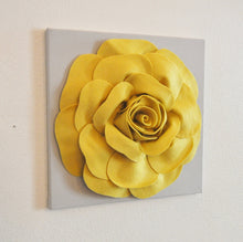 "Load image into Gallery viewer, Mellow Yellow Rose on Gray 12 x12"" Canvas - Daisy Manor"