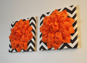 "Two Wall Flowers -Pumpkin Orange Dahlia on Brown and Natural Chevron 12 x12"" Canvas Wall Hangings- 3D Felt Flower - Daisy Manor"