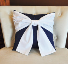 Load image into Gallery viewer, Throw Pillow White Bow on Navy Pillow 14x14 -Navy and White Pillow- Decorative Pillow- - Daisy Manor
