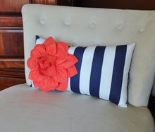 Load image into Gallery viewer, Navy Stripe Lumbar Pillow - Daisy Manor
