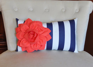 Navy Stripe Lumbar Pillow - Daisy Manor