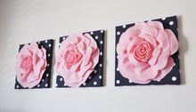 "Load image into Gallery viewer, Wall Decor -Set Of Three Light Pink and White Flower Wall Hangings 12 x12"" Canvas Wall Art- - Daisy Manor"