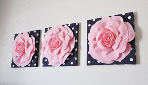"Wall Decor -Set Of Three Light Pink and White Flower Wall Hangings 12 x12"" Canvas Wall Art- - Daisy Manor"