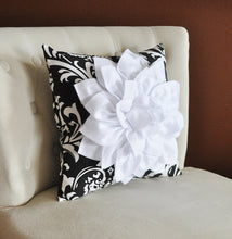 Load image into Gallery viewer, White Dahlia Flower on Black and White Stripe Pillow - Daisy Manor