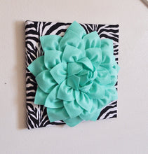 Load image into Gallery viewer, TWO Mint Green Dahlia Flowers on Black and White Zebra Print Canvases - Daisy Manor