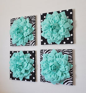 "Wall Decor -Set Of Four Mint Dahlias on Black and White Prints 12 x12"" Canvases Wall Art- - Daisy Manor"