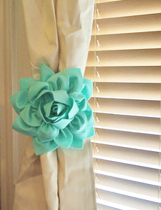 Mint Dahlia Flower Curtain Tie Backs - Daisy Manor