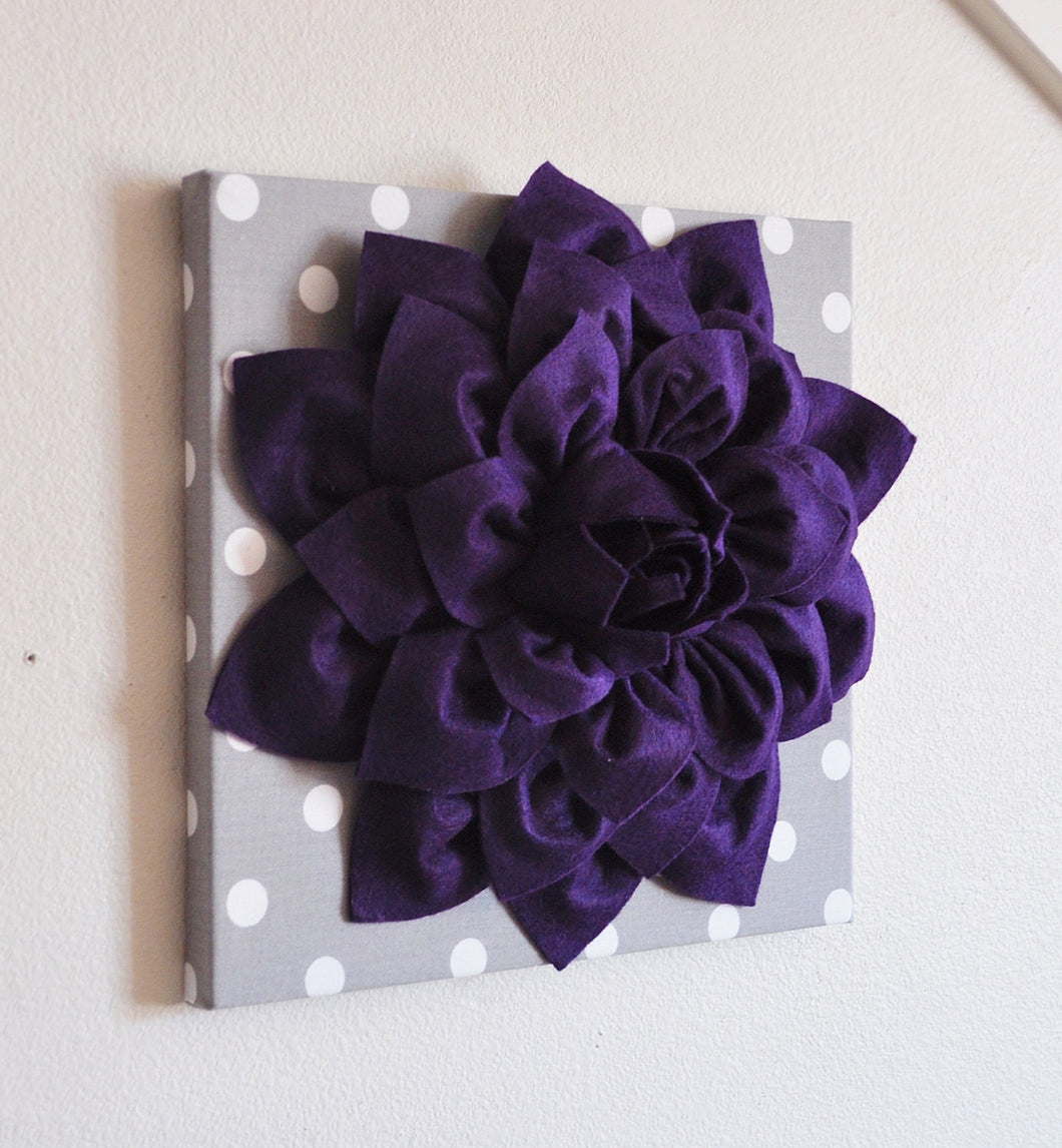 Two Deep Purple Dahlia on Gray and White Polka Dot 12 x12