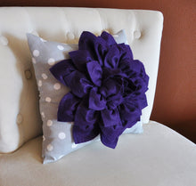 "Load image into Gallery viewer, Two Deep Purple Dahlia on Gray and White Polka Dot 12 x12"" Canvas Wall Art - Daisy Manor"