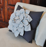 Gray Decorative Pillow. Gray Dahlia Flower on Charcoal Grey Pillow. Made to Order.