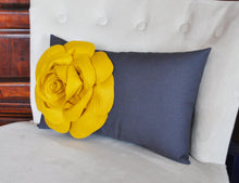 Load image into Gallery viewer, Light Coral Rose on Dusty Blue Lumbar Pillow -Decorative Pillow- - Daisy Manor