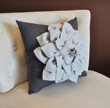 Load image into Gallery viewer, Gray Decorative Pillow. Gray Dahlia Flower on Charcoal Grey Pillow. Made to Order. - Daisy Manor