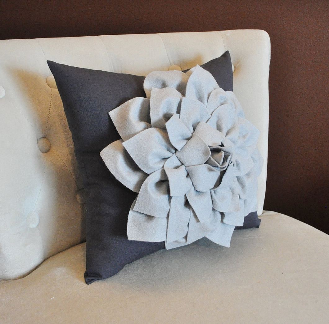 Gray Decorative Pillow. Gray Dahlia Flower on Charcoal Grey Pillow. Made to Order. - Daisy Manor