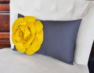 Mustard Rose on Charcoal Gray Lumbar Pillow -Decorative Pillow- - Daisy Manor
