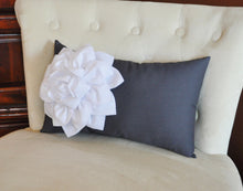 Load image into Gallery viewer, Grey Pillows - White Dahlia on Charcoal Gray Lumbar Pillow - Decorative Pillow - - Daisy Manor